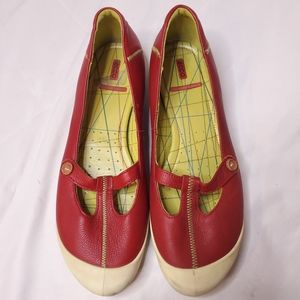 Ecco Red Leather Mary Jane Flats white sole